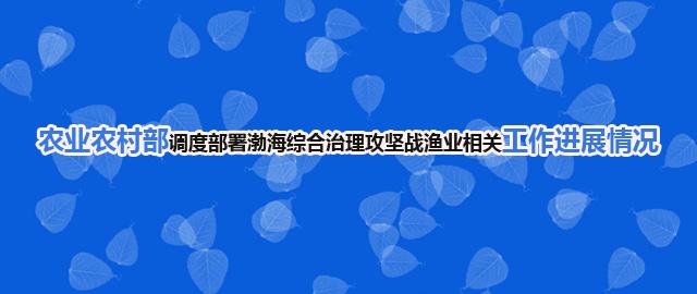 农业农村部调度部署渤海综合治理攻坚战渔业相关湖北快3APP进展情况