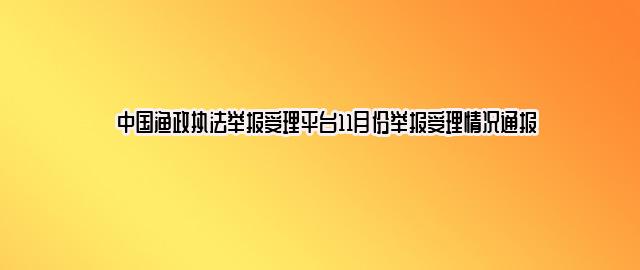 中国渔政执法举报受理平台11月份举报受理情况通报