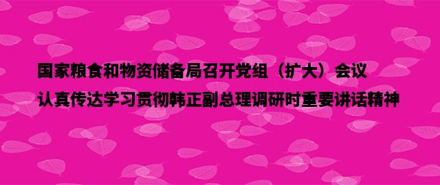 国家粮食和物资储备局召开党组(扩大)会议 认真传达学习贯彻韩正副总理调研时重要讲话精神